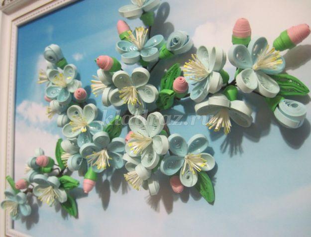 Цветущая ветка сливы в технике квиллинг. Мастер-класс с пошаговыми фото