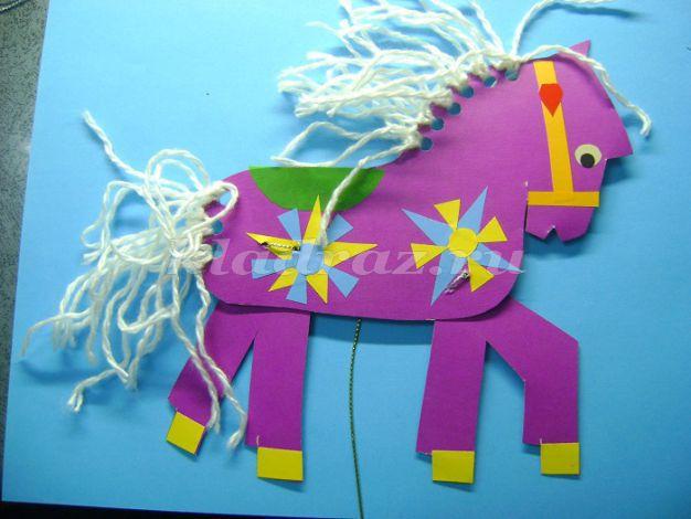 Как сделать лошадку дергунчика из картона