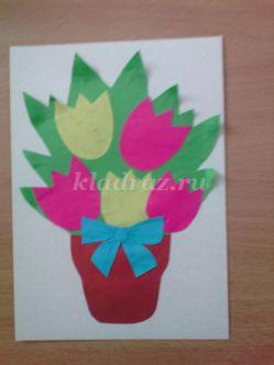 Аппликация из цветной бумаги с детьми 2-3 лет на тему: «Тюльпаны для мамы». Мастер-класс с пошаговым фото