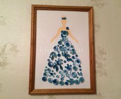 Картина из бумажных лент «Девушка в голубом платье». Мастер класс с пошаговым фото