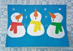 Аппликация из цветной бумаги «Поющие снеговики». Мастер- класс с пошаговым фото