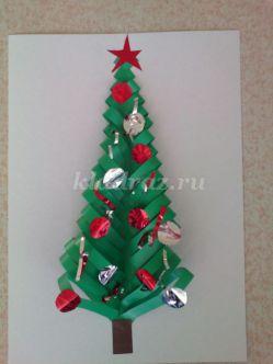 Аппликация из цветной бумаги для детей среднего дошкольного возраста «Новогодняя елочка» Мастер – класс с пошаговым фото.