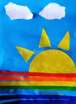Аппликация из цветной бумаги для детей средней группы детского сада «Радуга после дождя». Мастер класс с пошаговым фото