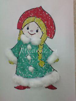 Аппликация из цветной бумаги в технике мозаика «Снегурочка» для детей 3- 4 лет. Мастер-класс с пошаговым фото.