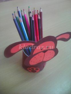 Мастер-класс с пошаговым фото «Карандашница» для детей 5-7 лет
