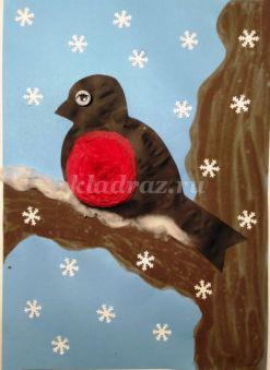 Мастер-класс с пошаговым фото: Объемная аппликация с элементами рисования «Снегирь»