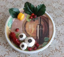 Панно в технике объемный декупаж «Тарелка с овощами» Мастер-класс с пошаговым фото