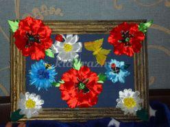 Панно с цветами из атласных лент «Аромат полей». Мастер-класс с пошаговым фото