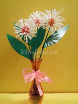 Цветы из ватных палочек и цветной бумаги. Мастер-класс