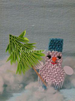 Снеговик из модулей оригами. Мастер-класс с пошаговым фото