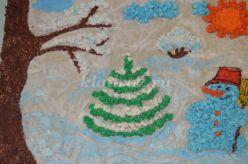 Мастер-класс. Работа с природным материалом. Панно из яичной скорлупы и бумажных шариков «Зима - рукодельница»