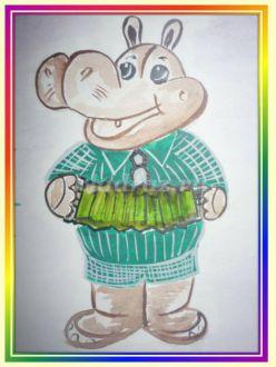 Мастер-класс по рисованию забавного бегемота с поэтапными рисунками