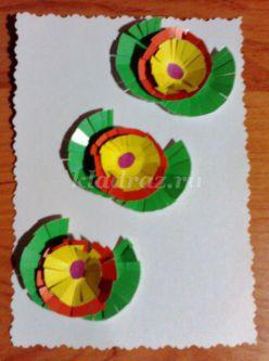 Аппликация из кругов. Праздничная открытка своими руками с детьми 6-7 лет. Мастер-класс с пошаговым фото.