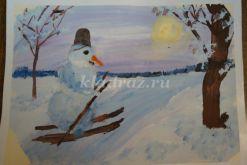 Рисунок «Отличный лыжник Снеговик!». Мастер-класс с пошаговым выполнением