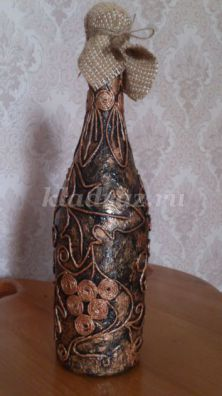 Декорирование бутылки в технике Пейп-арт «Виноградная лоза». Мастер-класс с пошаговым фото