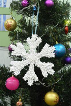 Новогодняя игрушка снежинка своими руками для детей 5-7 лет. Мастер класс с пошаговым фото