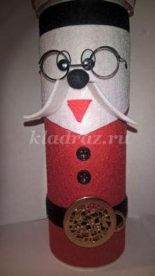 Новогодняя коробка «Санта Клаус» из бросовых материалов. Мастер-класс с пошаговыми фото