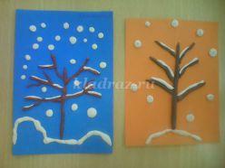 Мастер класс с использованием пластилинографии «Дерево в снегу» для детей 5-7 лет