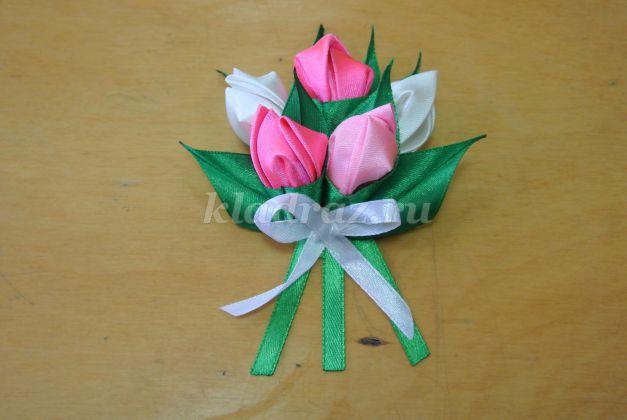 Как сделать тюльпаны из лент мастер класс