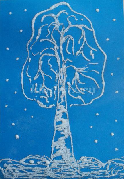 Зимние деревья пошаговое