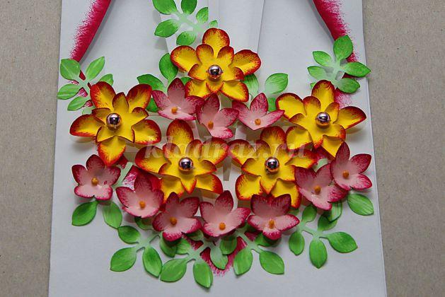Открытка с объемными цветами внутри пошаговая 72