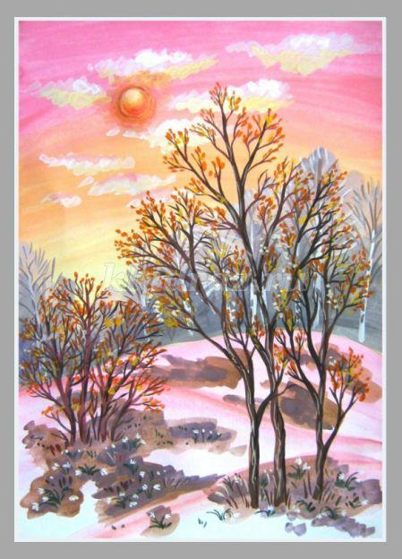 Весна рисунки акварелью поэтапно 102