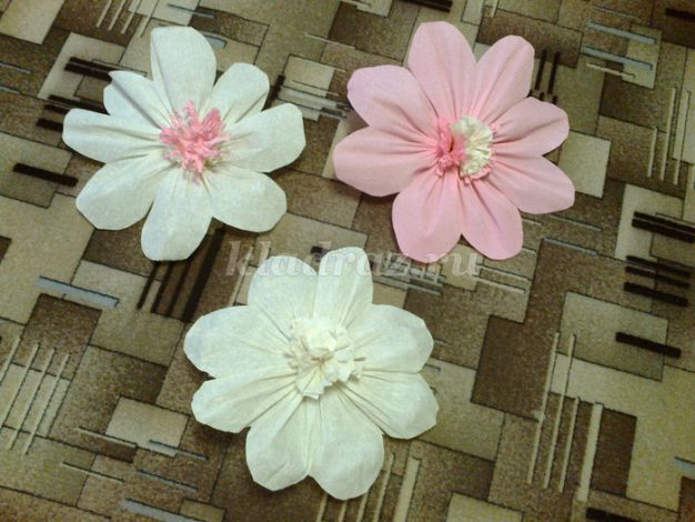 Цветы из гофрированной мастер класс с пошаговым