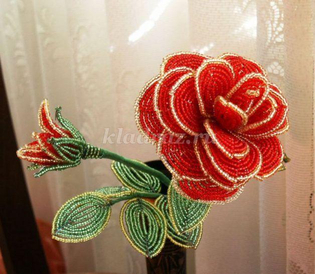 Розы из бисера мастер класс с пошаговым фото для начинающих схема