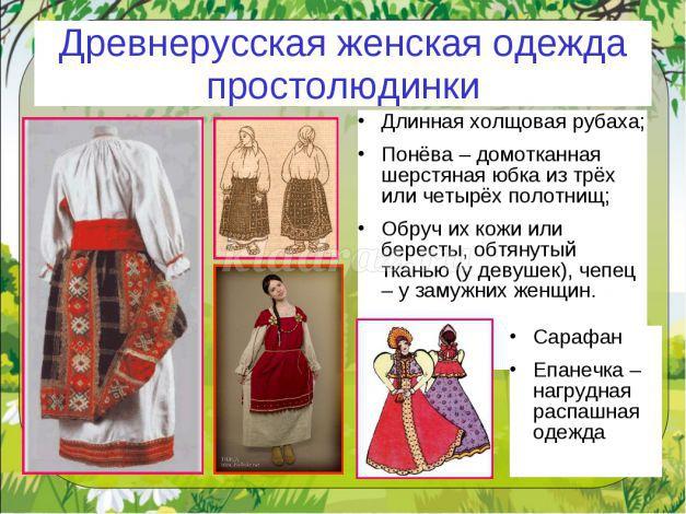 Виды древнерусской одежды