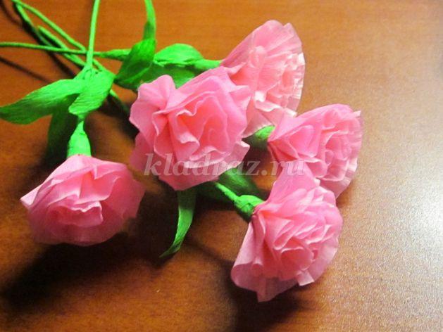 Розы своими рука из гофрированной бумаги мастер класс 41
